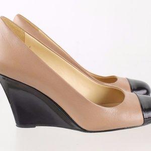 Kate Spade New York Black Peach Leather Wedges
